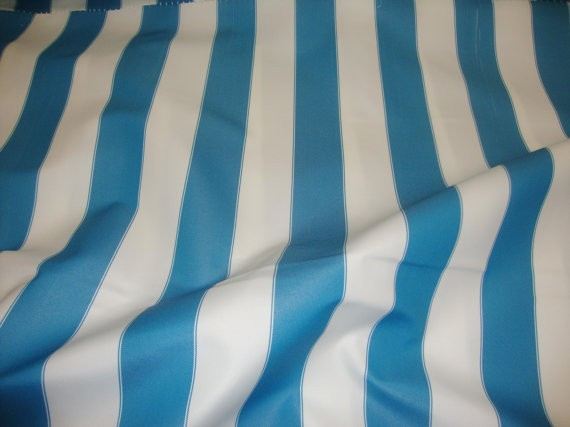 "Aqua white Striped Waterproof Outdoor Canvas fabric 60"" 600 Denier wide per yard"