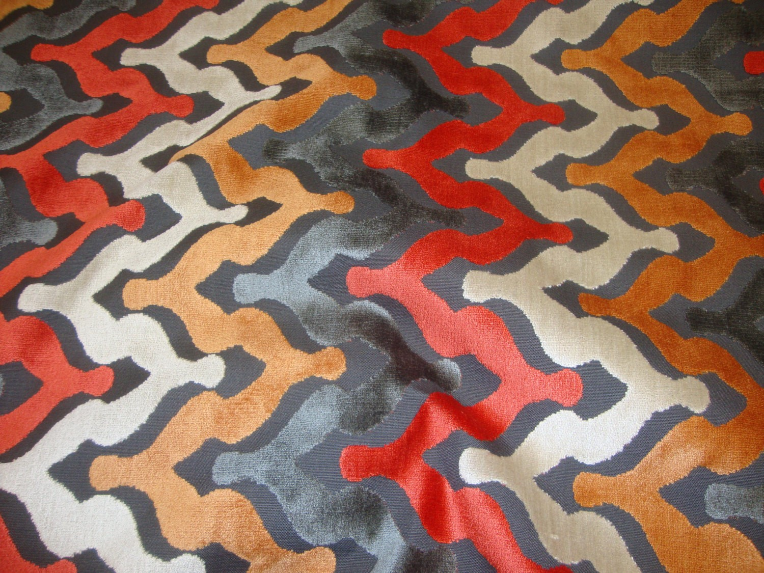 Atomic Wave Embossed Raised Velvet Upholstery Drapery