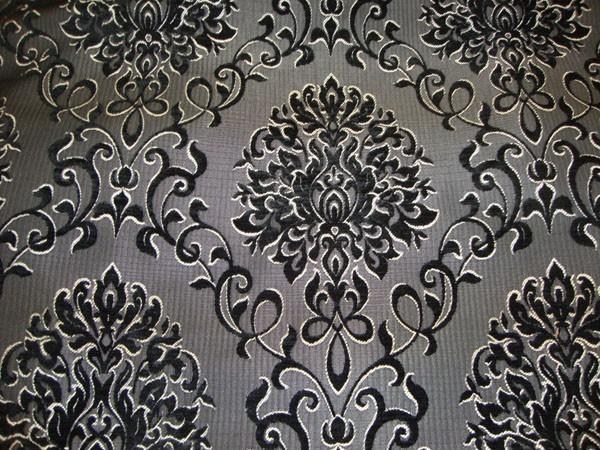 Black Reversible Chenille Damask Pattern Upholstery Drapery Fabric