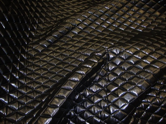 Black Faux Leather Quilted Vinyl Fabric With 3 8 Foam Backing