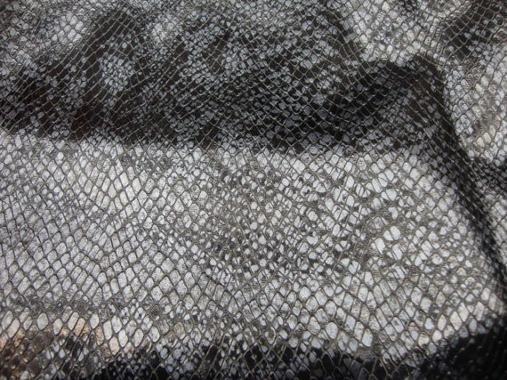 Black Silver Snake Stretch Vinyl Upholstery Fabric Per Yard