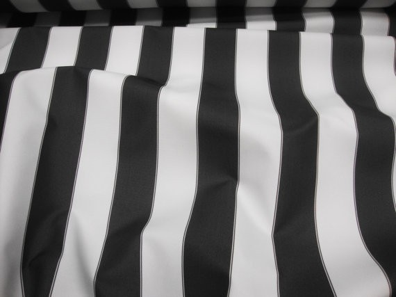 "Black White Striped Waterproof Outdoor Canvas fabric 60"" 600 Denier wide per yard"
