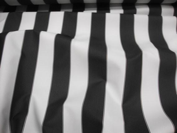 "Black White Striped Waterproof Outdoor Canvas fabric 60"" 600 Denier wide per yard"