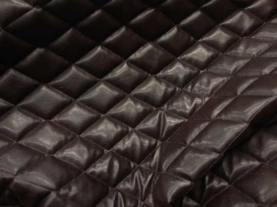 Brown Faux Leather Quilted Vinyl Fabric With 3 8 Foam Backing