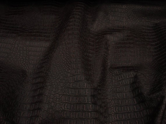 Brown Matt Gator Upholstery Faux Vinyl Fabric Per Yard