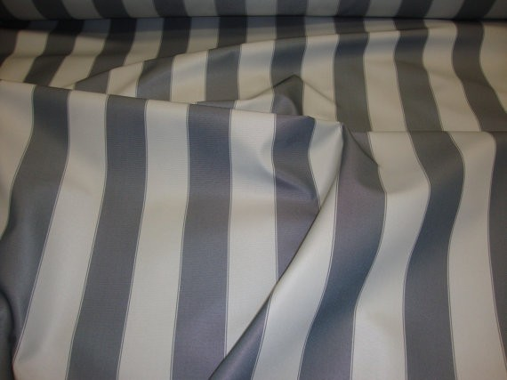 "Dark Grey light Grey Striped Waterproof Outdoor Canvas fabric 60"" 600 Denier wide per yard"