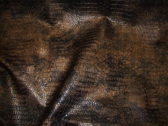 Gilt metallic Gator upholstery Faux vinyl fabric per yard