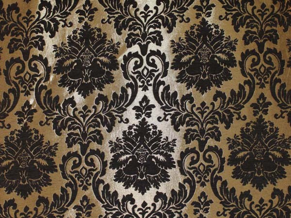Gold Damask Chenille Upholstery Drapery Fabric