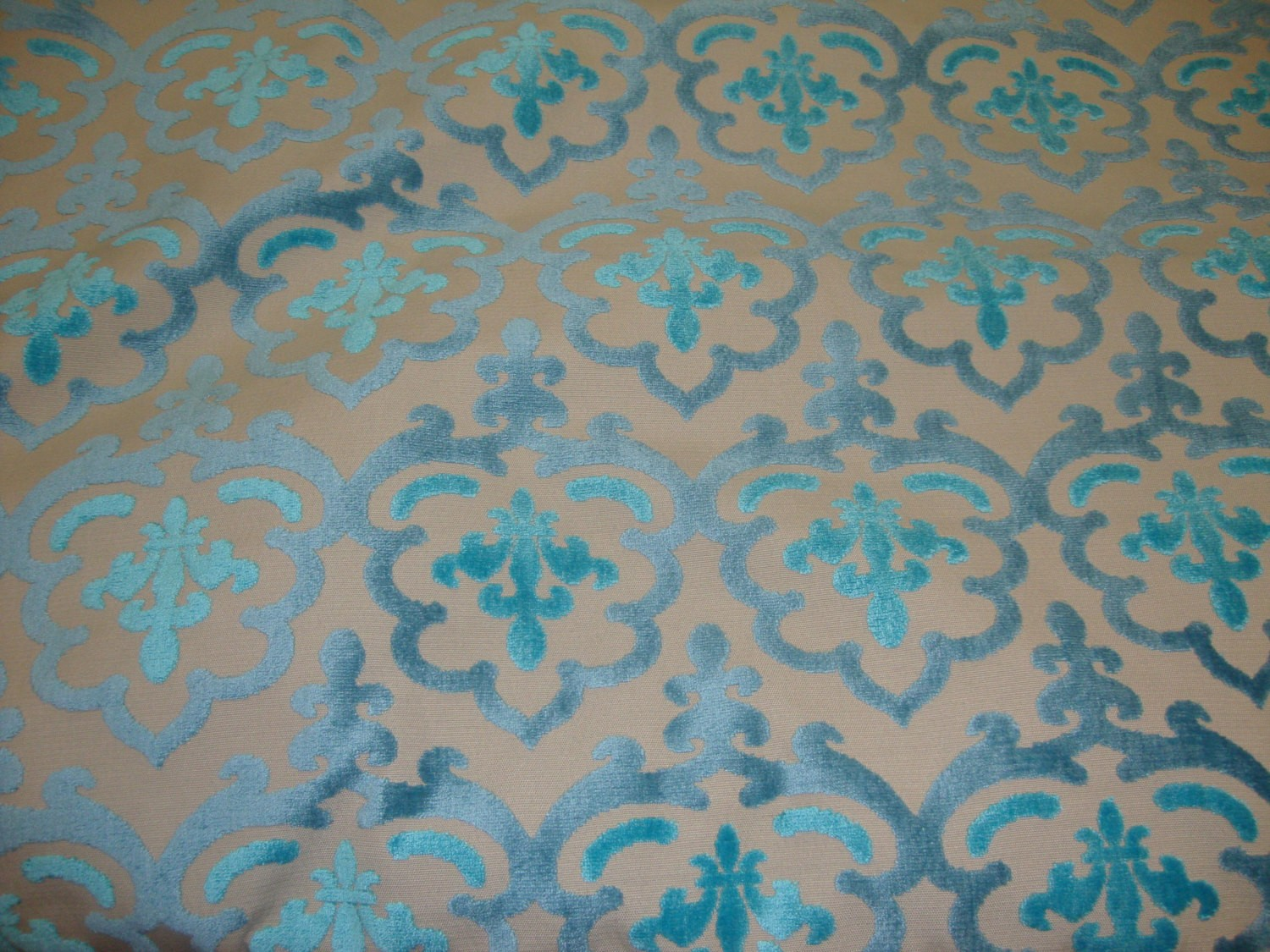 Peacock Damask Embossed Raised Velvet Upholstery Drapery
