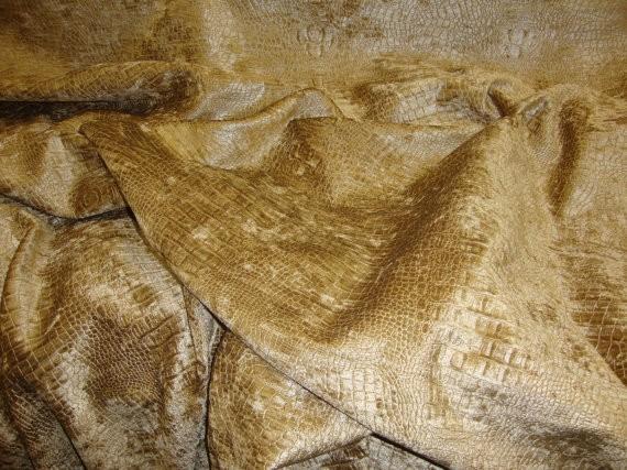 Peat Crocodile Upholstery chenille Fabric per yard