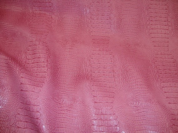 Pink Allie embossed Alligator upholstery Faux vinyl fabric per yard