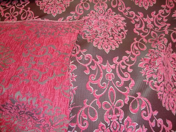 Pink Damask Chenille Upholstery Drapery Reversible Fabric