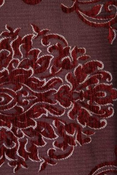 Red Damask Chenille Upholstery Drapery Reversible Fabric