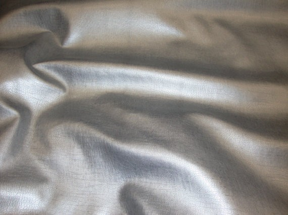Silver Metallic Distressed Faux Leather Upholstery Fabric