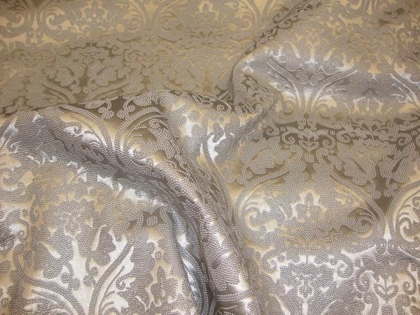 Silver Parisian Embossed Damask Vinyl Upholstery Drapery Fabric Per Yard