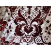 "Burgundy Damask with silver burnout  velvet silver background 56"" drapery fabric per yard"