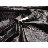 Black Crocodile upholstery vinyl fabric per yard