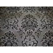 Black Damask Chenille Upholstery Drapery Reversible Fabric