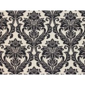 Black Jacquard Damask Floral upholstery fabric