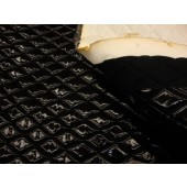 "Black Patent Quilted Vinyl fabric with 3/8"" Foam Backing Upholstery"