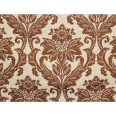 Brown Jacquard Damask Floral upholstery fabric