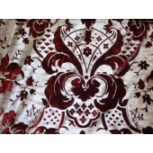 Burgundy Damask with Silver Burnout