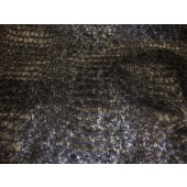 Charcoal Metallic Embossed big Crocodile pattern upholstery vinyl fabric per yard
