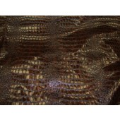 Chocolate Metallic Embossed big Crocodile pattern upholstery vinyl fabric per yard