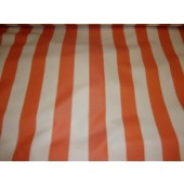 "Orange Ivory Striped Waterproof Outdoor Canvas fabric 60"" 600 Denier wide per yard"