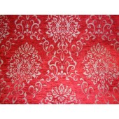 Red Reversible Chenille Damask Pattern Upholstery