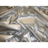 Silver Fetish Wet Vinyl Clothing fabric per yard