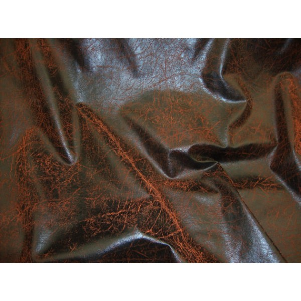 Copper Distressed Look Faux Vinyl Upholstery Fabric Per Yard