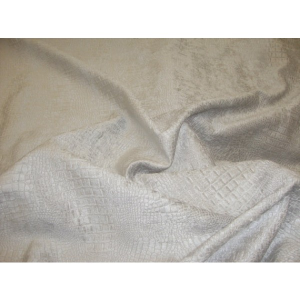 Platinum Silver Crocodile Upholstery Chenille Fabric Per Yard