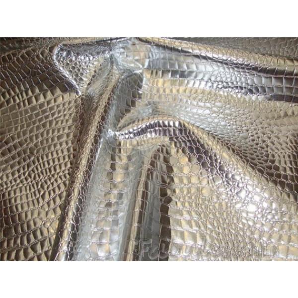 Silver Crocodile Upholstery Vinyl Fabric Per Yard