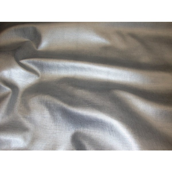 Silver Metallic Distressed Faux Leather Upholstery Fabric Per Yard
