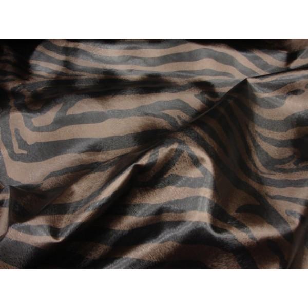Zebra Vinyl Black And Brown Upholstery Fabric Per Yard